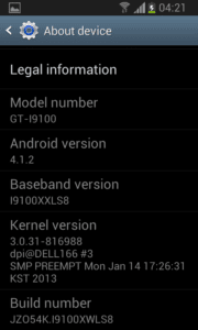 "Jelly Bean ""about"" screen on Samsung Galaxy S II"