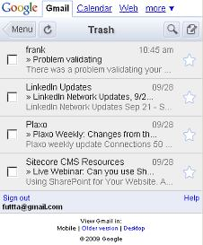 my trash in gmail mobile