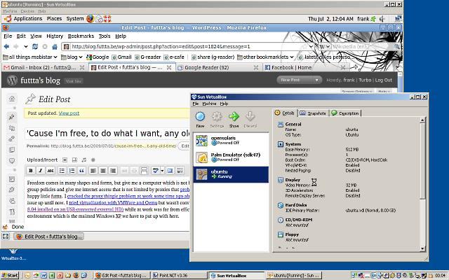 a screenshot of virtualbox 3 on windows xp
