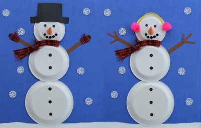 Paper plate snowmen with three plates