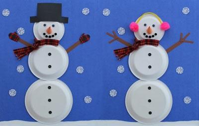 Bonhommes de neige avec 3 assiettes