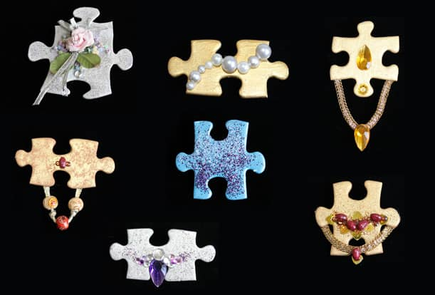 Brooches made from jig-saw puzzle pieces